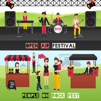 Banners horizontales del festival al aire libre con músicos en el lugar de espectáculos, bebidas, puestos de recuerdos y visitantes