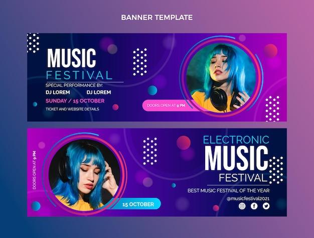 Banners horizontales de festival de música colorido degradado