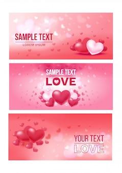 Banners horizontales festivos de amor brillante