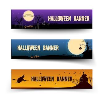 Banners horizontales festivos de feliz halloween con elementos tradicionales de miedo en estilo de dibujos animados