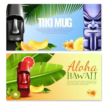 Banners horizontales fiesta hawaiana