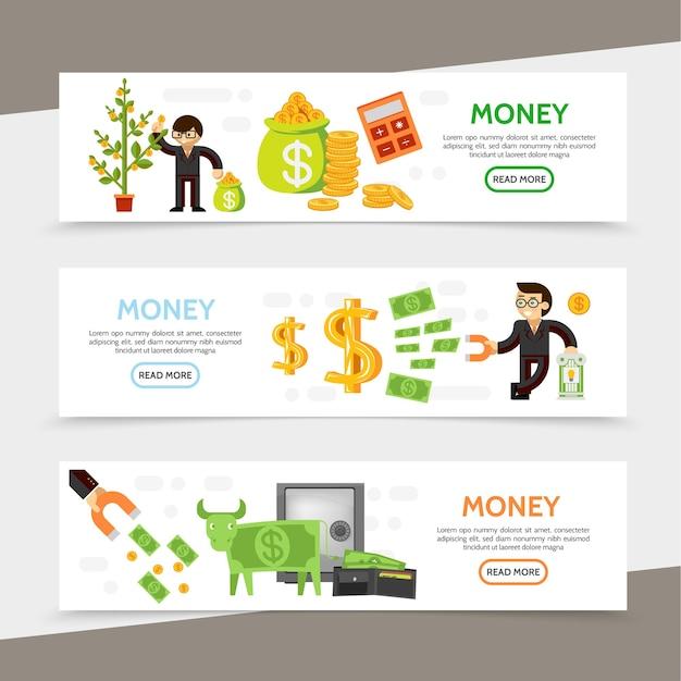 Banners horizontales de finanzas planas con gente de negocios calculadora de árbol de dinero bolsa de monedas imán financiero en efectivo