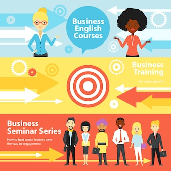 Banners horizontales de formación empresarial