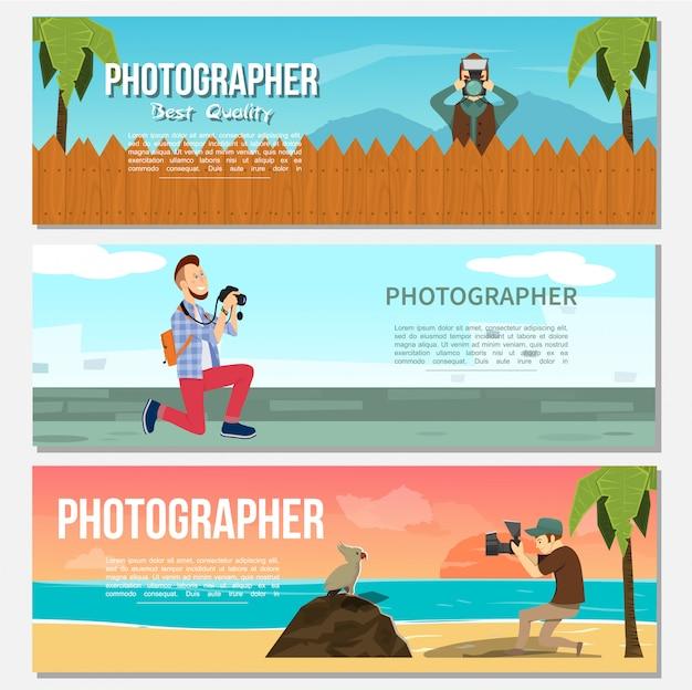 Banners horizontales de fotografía plana con paparazzi fotógrafo de animales foto de mar nocturno y delfines