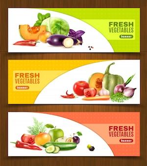 Banners horizontales de frutas y verduras