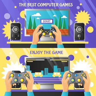 Banners horizontales de gadget de juego
