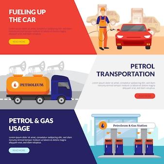 Banners horizontales de gasolineras con símbolos de uso de gas