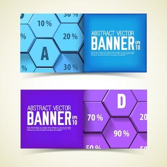 Banners horizontales geométricos web con hexágonos 3d azules y púrpuras y porcentaje aislado