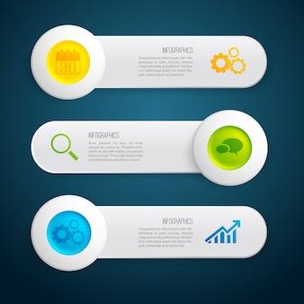Banners horizontales grises de infografía con círculos de colores de texto e iconos en la ilustración oscura