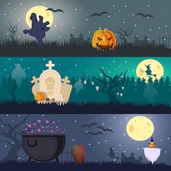 Banners horizontales de halloween