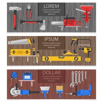 Banners horizontales de herramientas de trabajo con instrumentos de colores para carpintero