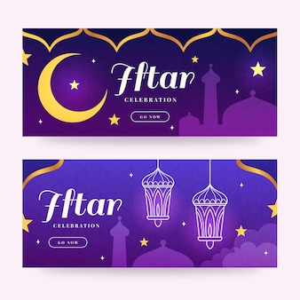Banners horizontales iftar planos
