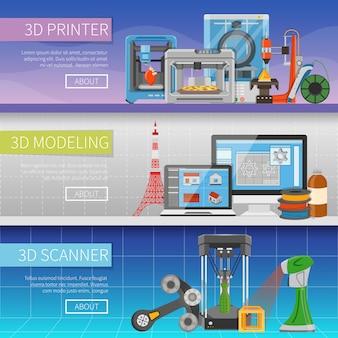 Banners horizontales de impresión 3d