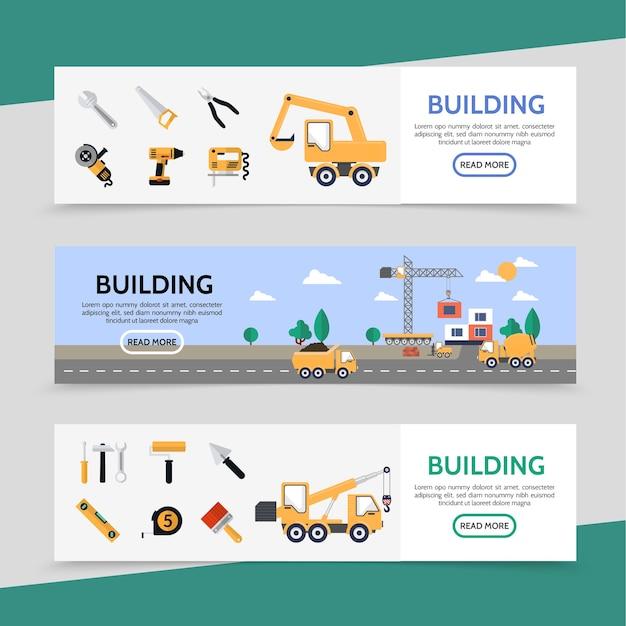Banners horizontales de la industria de la construcción plana