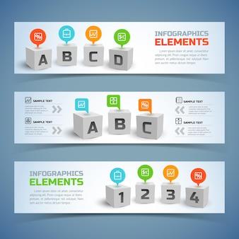 Banners horizontales de infografía de cubos con cubos 3d