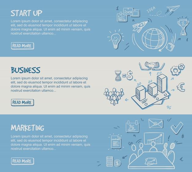 Banners horizontales de infografía empresarial dibujados a mano