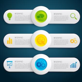 Banners horizontales de infografía de información empresarial con círculos de colores de texto e iconos en la ilustración oscura