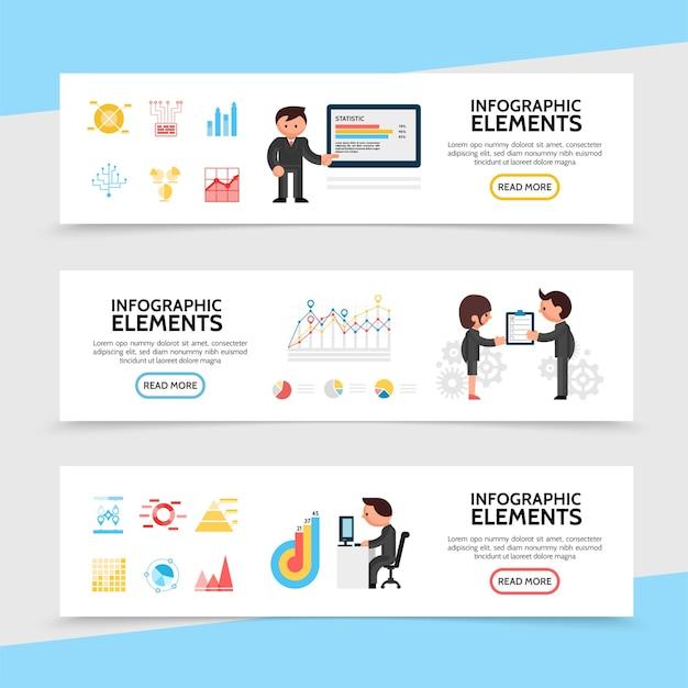 Banners horizontales de infografía plana