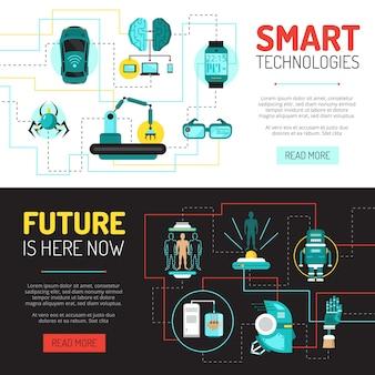 Banners horizontales de inteligencia artificial con imágenes planas de innovaciones tecnológicas y robótica.