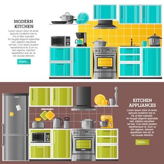Banners horizontales de interior de cocina