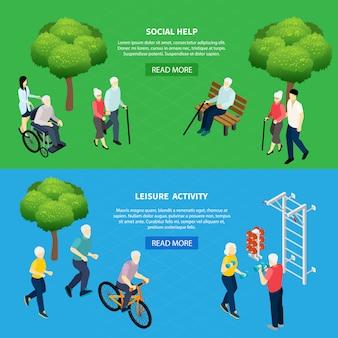 Banners horizontales isométricos de ayuda social para personas mayores y la actividad de ocio de los pensionistas aislado ilustración vectorial
