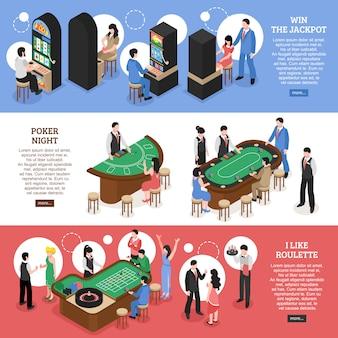 Banners horizontales isométricos de casino