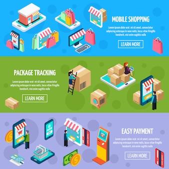 Banners horizontales isométricos de compras móviles