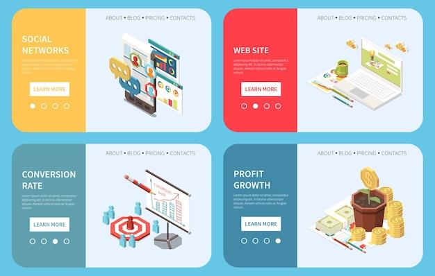 Banners horizontales isométricos de concepto de estrategia de marketing con interruptores de página de botones de aprendizaje