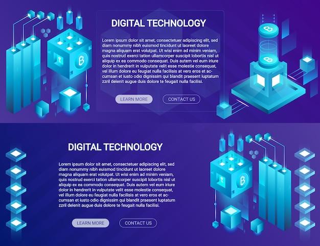 Banners horizontales isométricos de criptomoneda, bitcoin, blockchain con lugar web de texto y botones.
