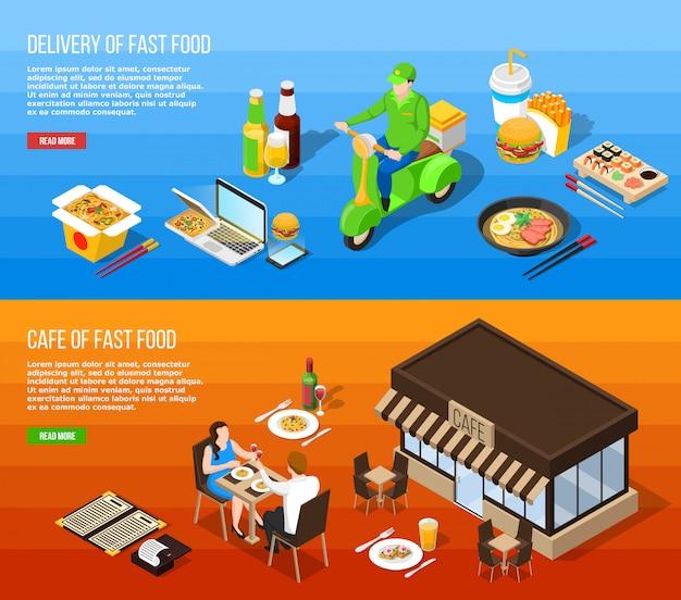 Banners horizontales isométricos de entrega de comida rápida