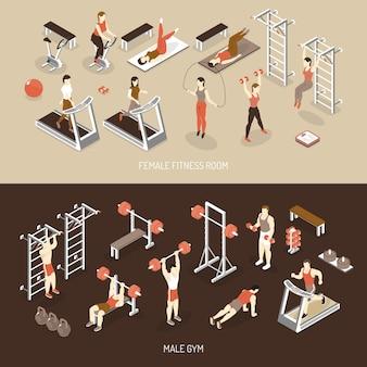 Banners horizontales isométricos de fitness