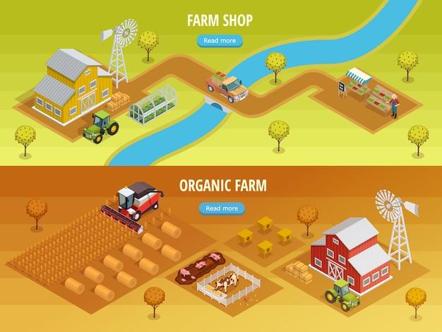 Banners horizontales isométricos de granja