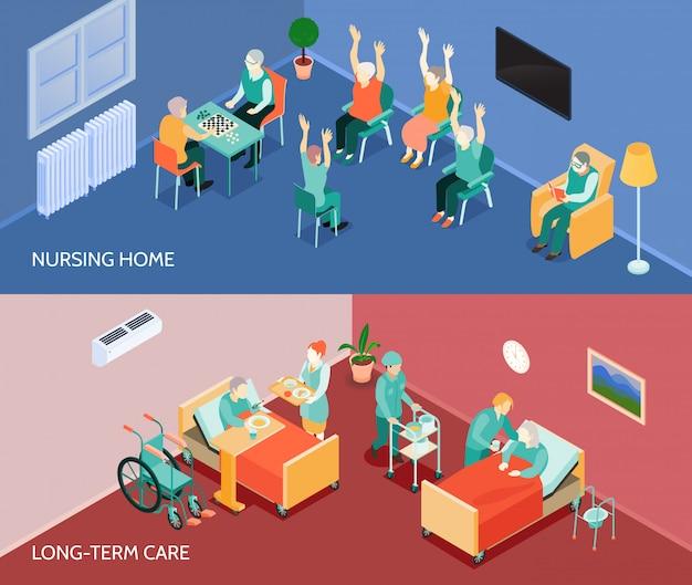 Banners horizontales isométricos de hogar de ancianos