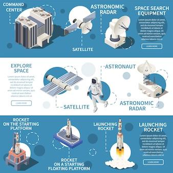 Banners horizontales isométricos con ilustración de equipo de exploración de investigación espacial