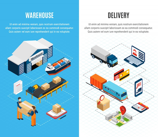 Banners horizontales isométricos de logística con servicio de almacén y entrega en coloridos 3d