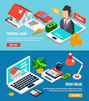 Banners horizontales isométricos de préstamos con texto leer más botón y composiciones relacionadas con el crédito