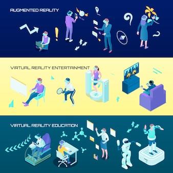 Banners horizontales isométricos de realidad virtual
