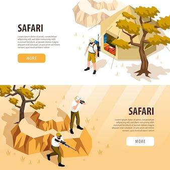 Banners horizontales isométricos de safari con carpa turística y personas con armas viendo animales aislados en 3d