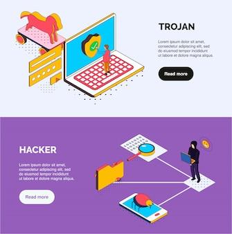 Banners horizontales isométricos de seguridad cibernética con iconos de troyanos y piratas informáticos, errores de caracteres humanos y botones en los que se puede hacer clic
