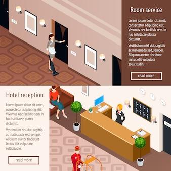 Banners horizontales isométricos de servicio de hotel