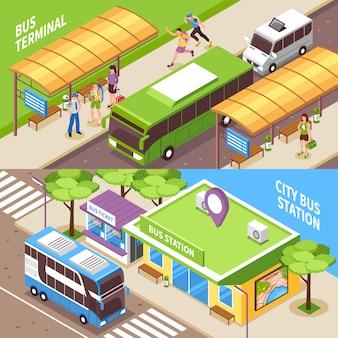 Banners horizontales isométricos de la terminal de autobuses