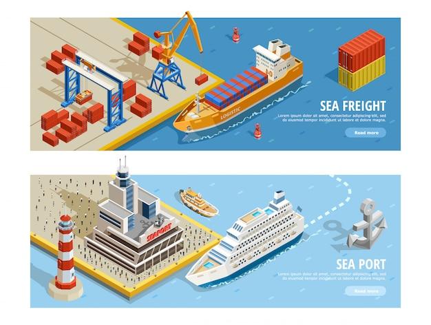 Banners horizontales isométricos de transporte marítimo