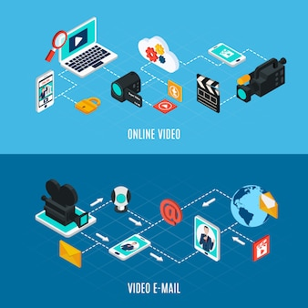 Banners horizontales isométricos de video y foto con composiciones de diagramas de flujo de equipos y dispositivos de video profesionales aislados