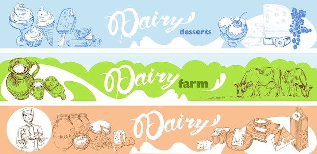 Banners horizontales de lácteos dibujados a mano