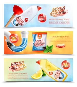 Banners horizontales de limpiador sanitario
