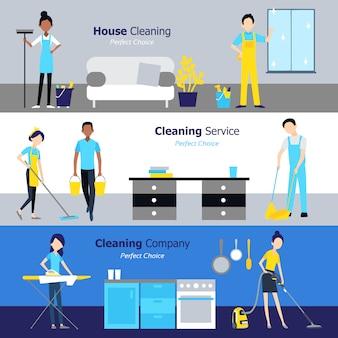 Banners horizontales de limpieza profesional