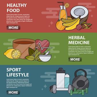 Banners horizontales de líneas finas de alimentos saludables, hierbas medicinales y estilo de vida deportivo. concepto de negocio de medicina alternativa y cuidado de la salud, naturopatía, homeopatía, bio y alimentos ecológicos.