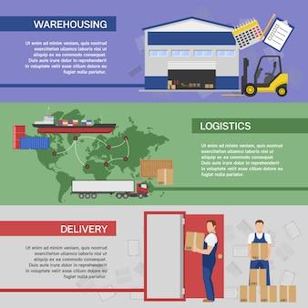 Banners horizontales de logística con sistema de almacenamiento de entrega de transporte de mercancías al consumidor aislado