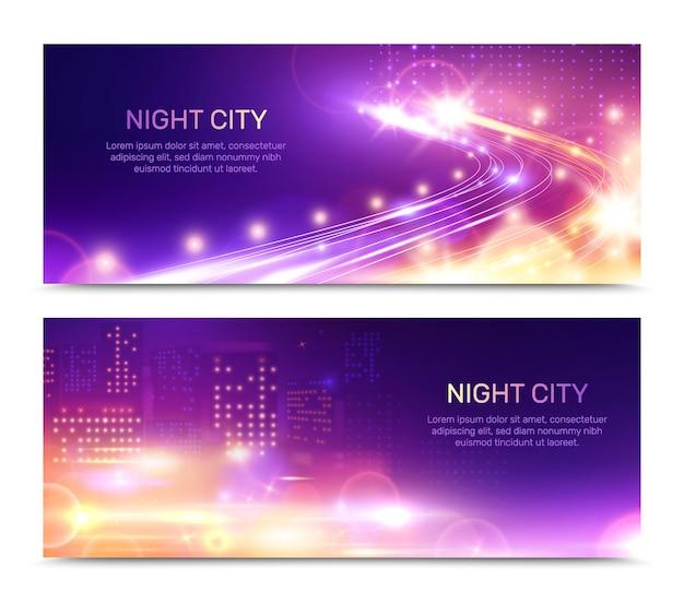 Banners horizontales de luces de la ciudad de noche con ventanas de edificios brillantes con autopista de velocidad