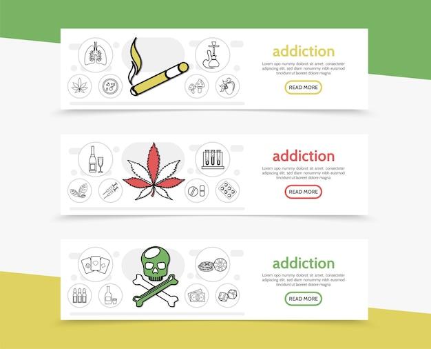 Banners horizontales de malos hábitos con cigarrillos, narguile, marihuana, tabaco, hojas, hongos, tubos de bebida